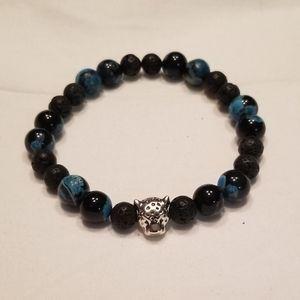 🎉🎉HP!! 🐆 Men's black leopard stretch bracelet